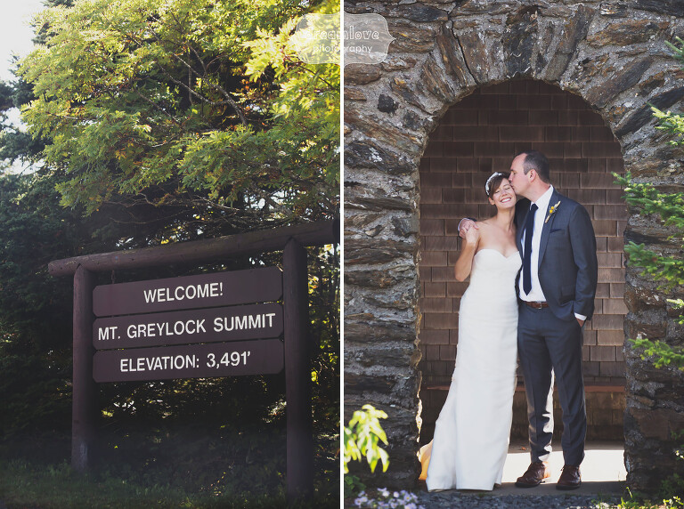 Bride and groom at Mount Greylock in Western MA.