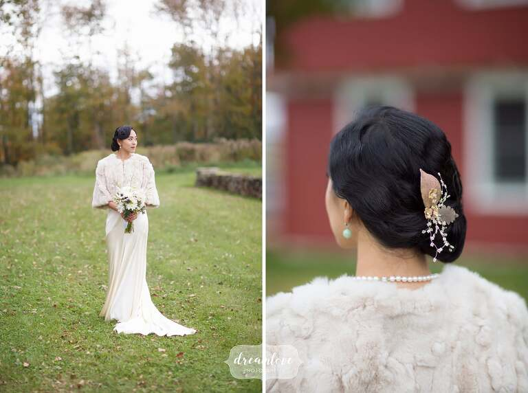 Beautiful Chinese bride in fur stole for this Catskills backyard wedding.