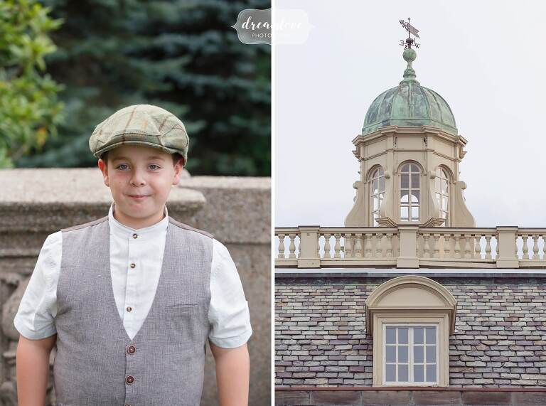 Young boy wearing an old paperboy outfit with vest and cap at Crane Estate.