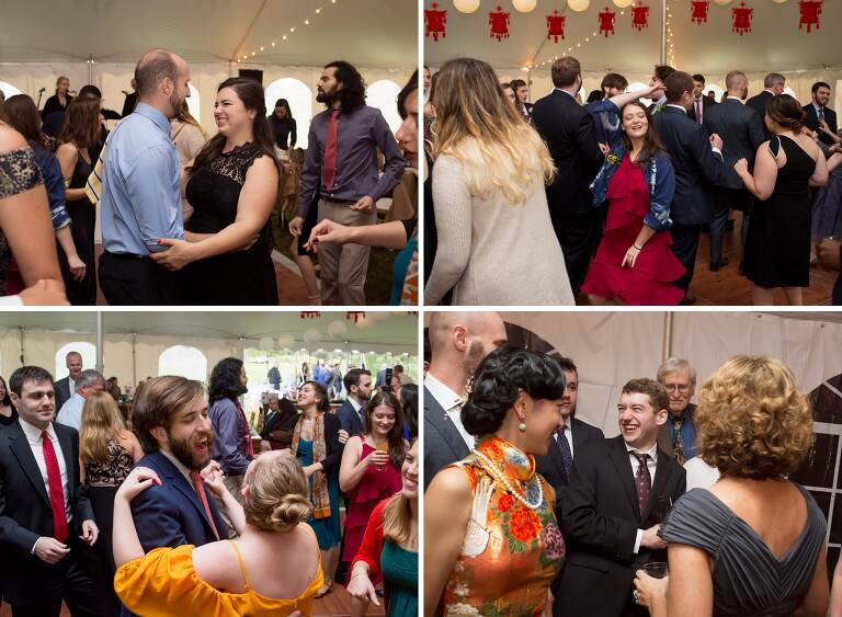 Guests dance to the Blues Reunion band at this Catskills wedding.
