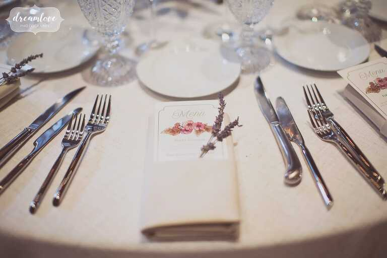 The Linden Place mansion with linen and lavender wedding table decor.