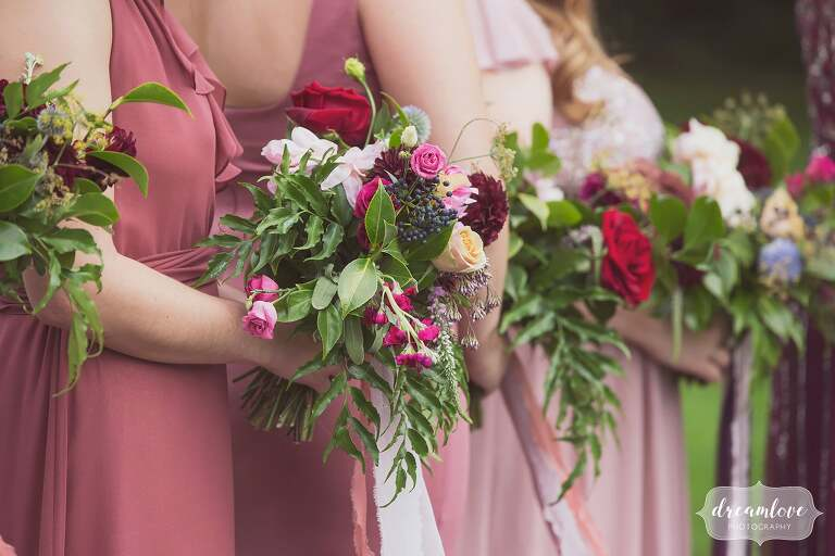 Fall bridesmaids bouquets at Linden Place.
