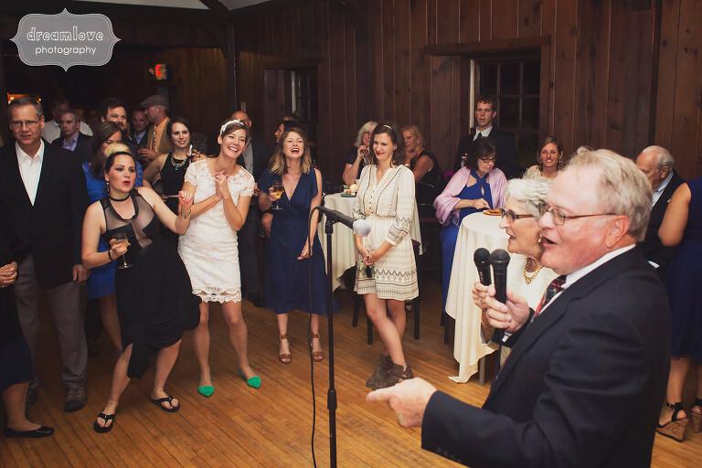 Grandparents do karaoke at this wedding reception at the Bascom Lodge on Mt. Greylock, MA.