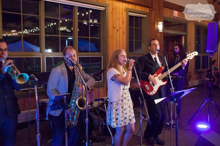 Documentary photo of the wedding band at Sugarbush, VT.