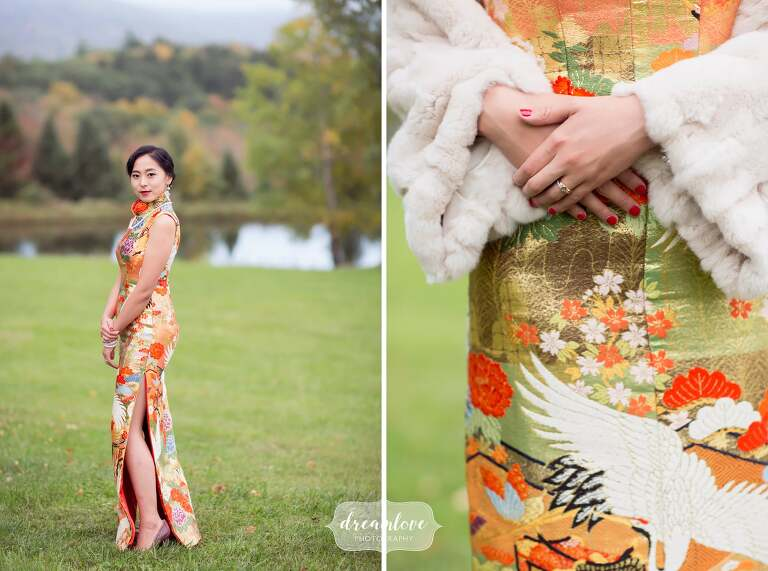 The bride wears an authentic Chinese dress at her Catskills backyard wedding.