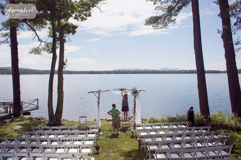 This backyard wedding had a beautiful set up on Lake Wentworth in Wolfeboro, NH.