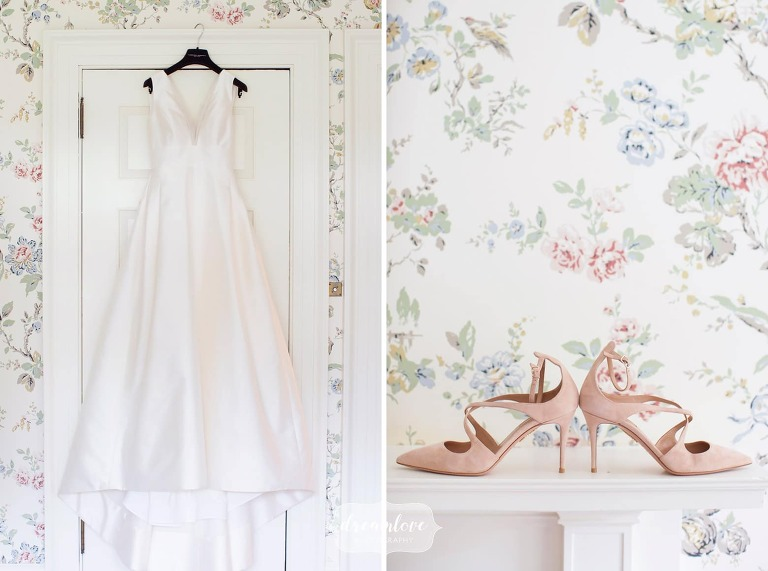 Bride's dress hangs in the bridal suite for this south shore estate wedding at Bradley.