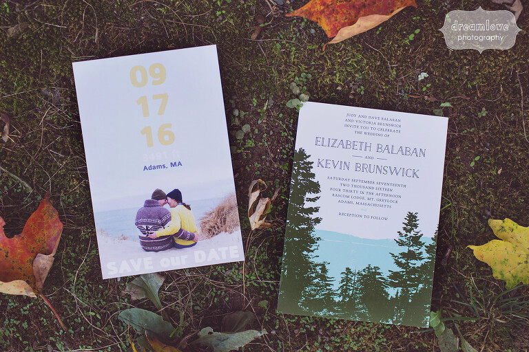 Rustic wedding invitations for mountain wedding in Berkshires.