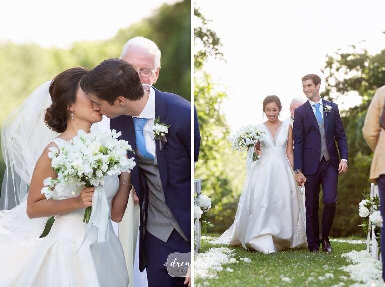 bride-groom-kiss-garden-ceremony