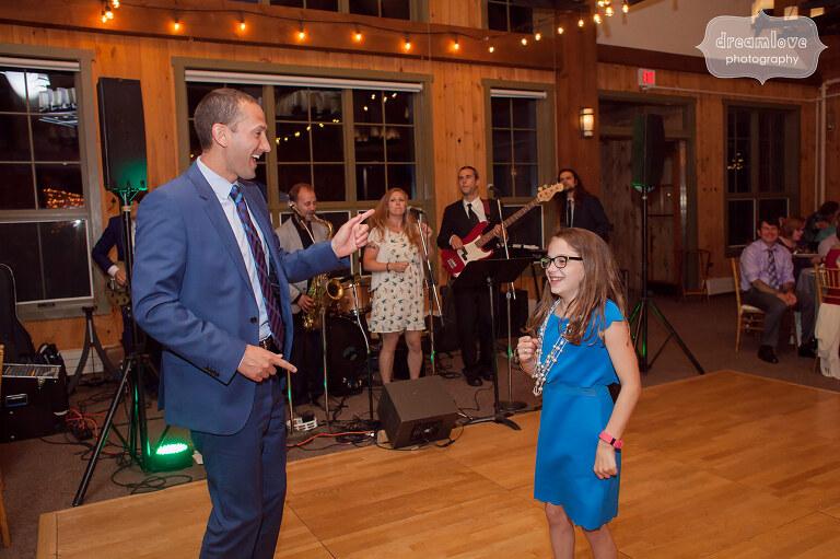 Guests dance during this reception at Sugarbush, VT.