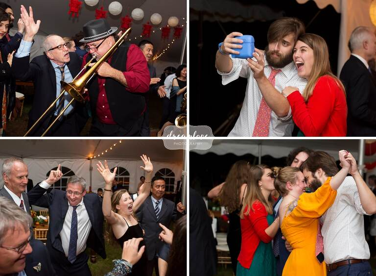 Funny moments of wedding guests dancing in Roxbury, NY.