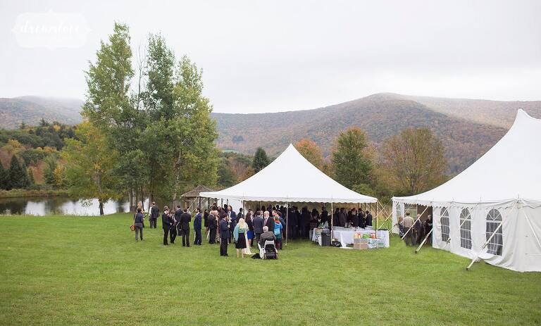 A tented cocktail hour at this reception for this Catskill Mountains wedding.