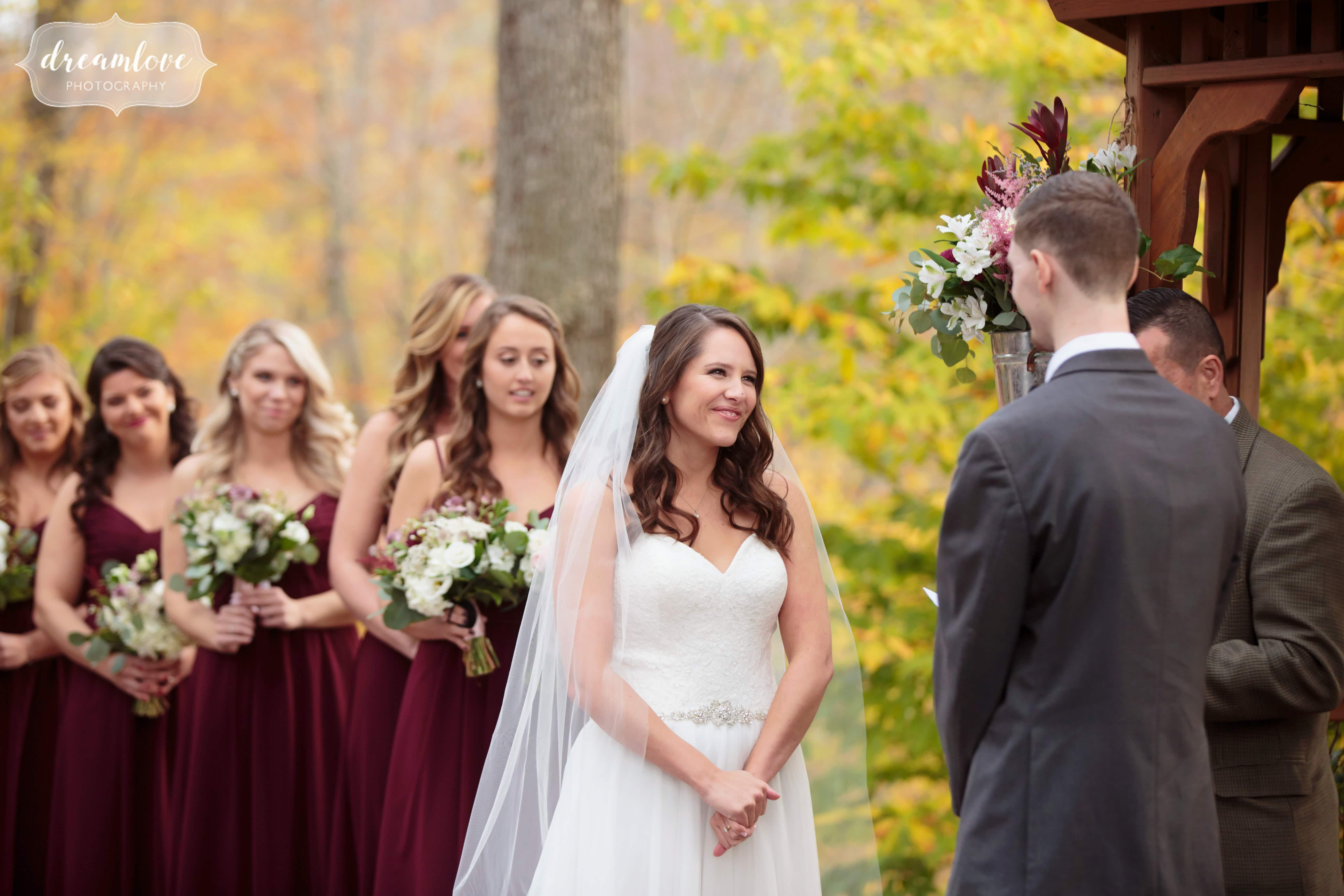 Candid wedding photography of this woodsy wedding ceremony in Middletown, CT.