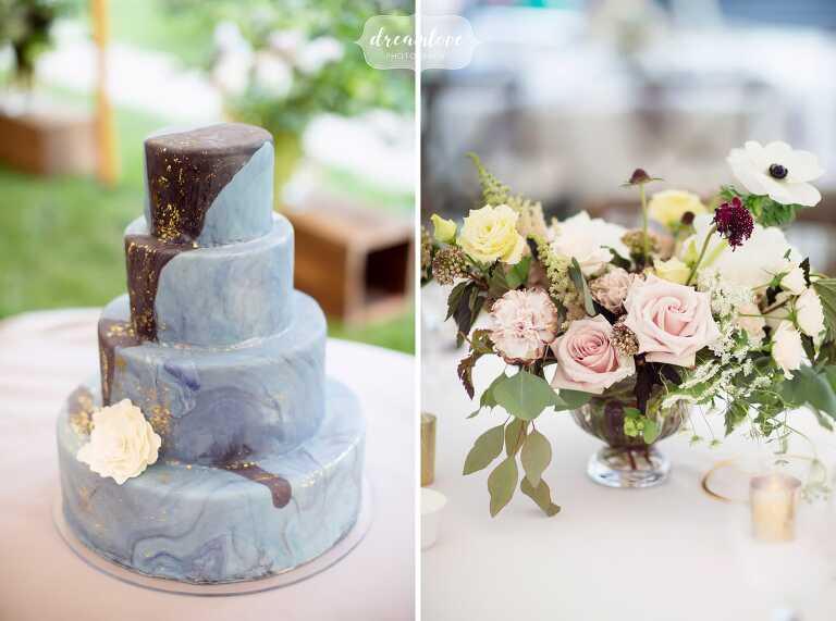 Wedding galaxy cake for this Boston celestial wedding at the Lyman Estate.