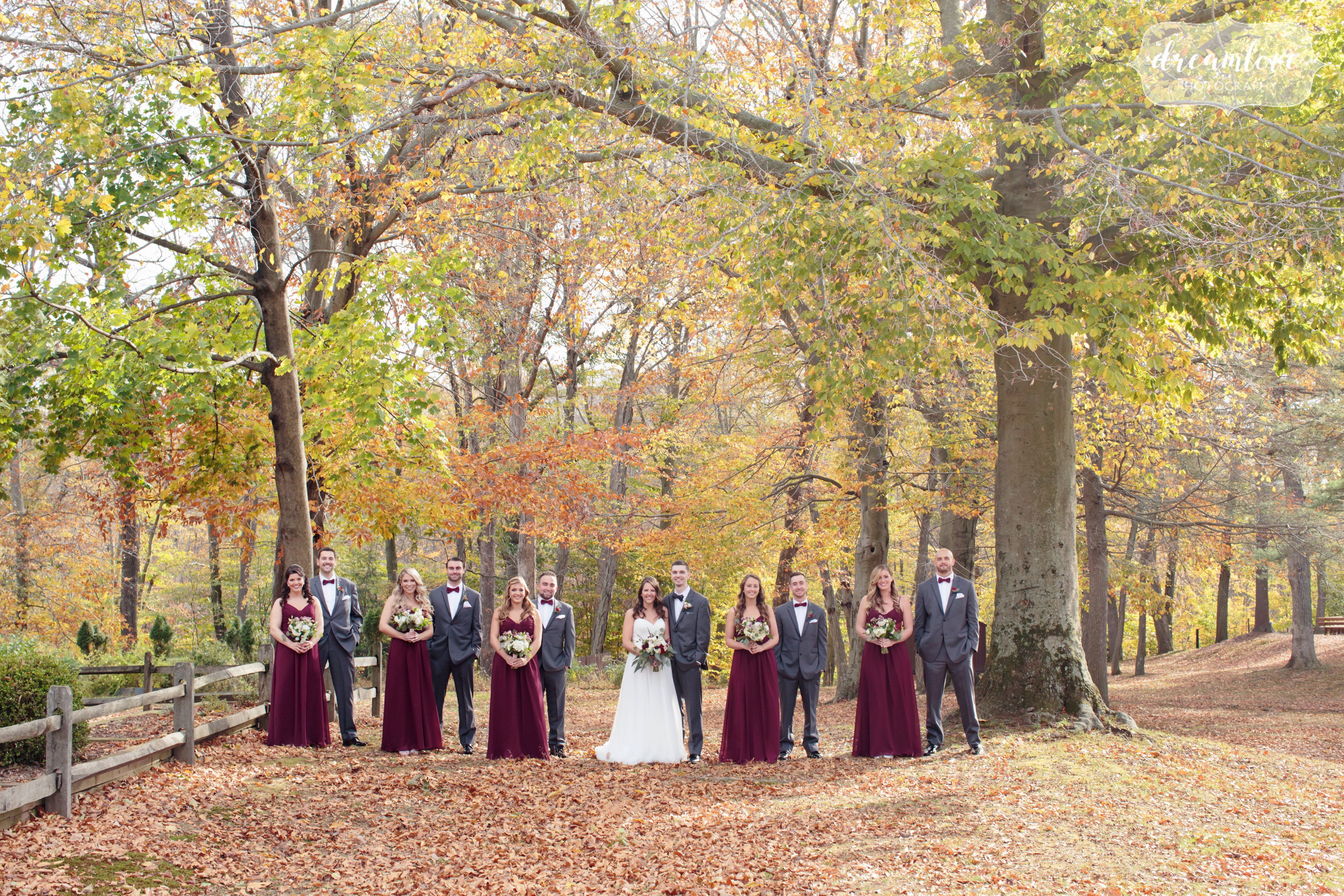 Ethereal wedding photography of the wedding party far away in the woods under a canopy of yellow trees.