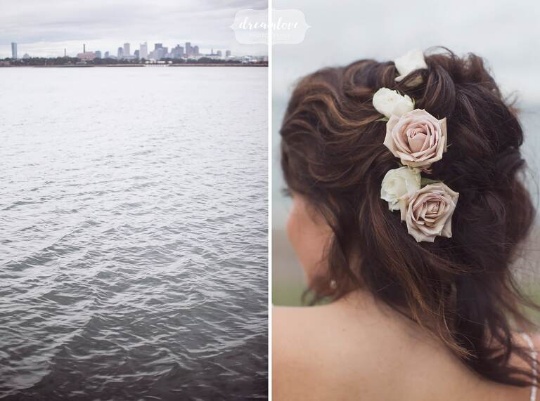 Coastal MA wedding details with flowers in hair.