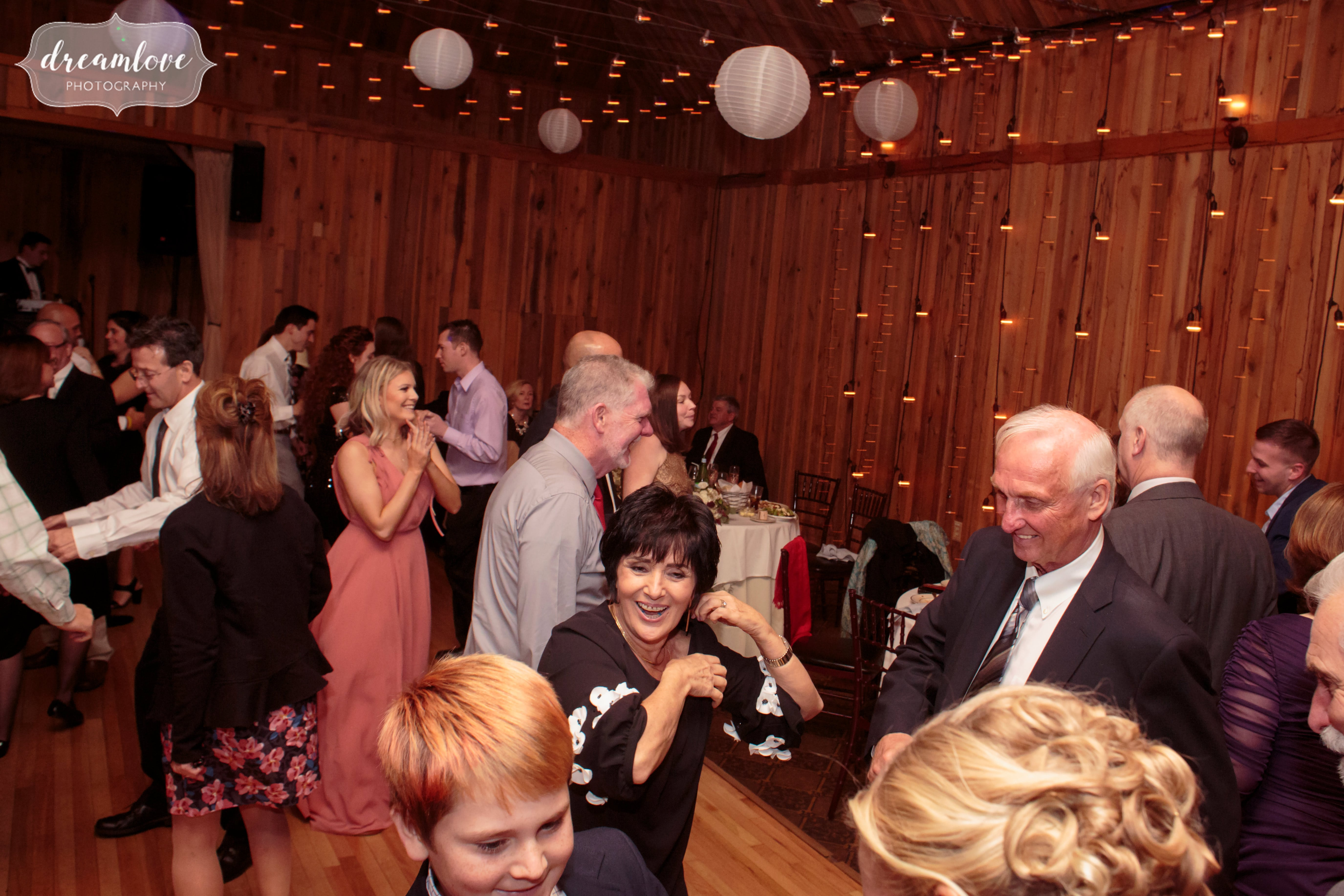 The dance floor at the rustic Crystal Lake Pavilion wedding venue.