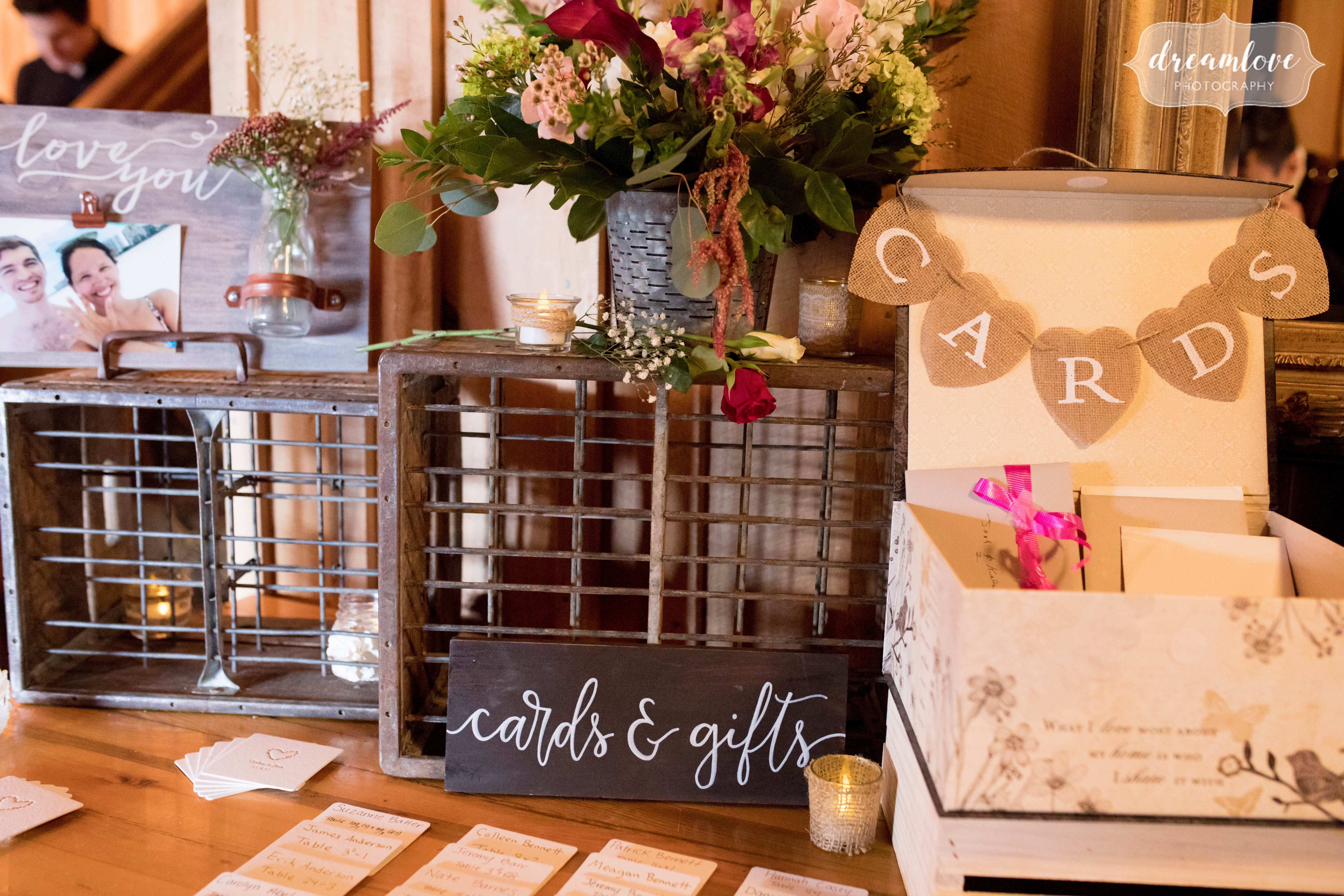 Pavilion on Crystal Lake fall wedding decor ideas with wooden crates.