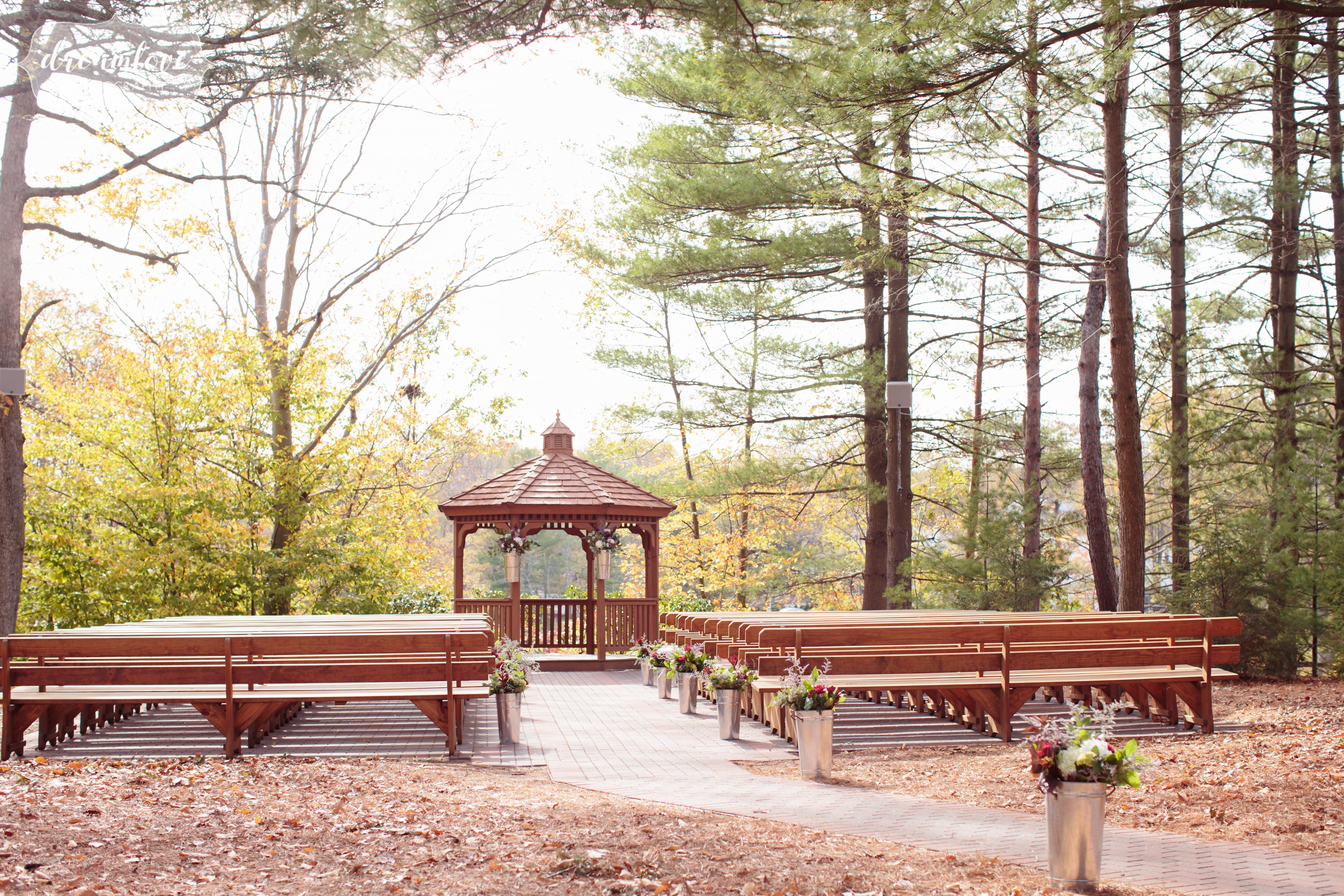 The gazebo sits next to the lake at the Pavilion on Crystal Lake wedding venue in Middletown, CT.