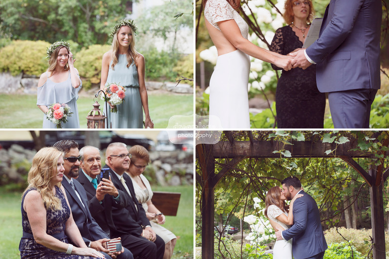 Candid wedding photos of guests during Curtis Hollow Farm ceremony in VT.