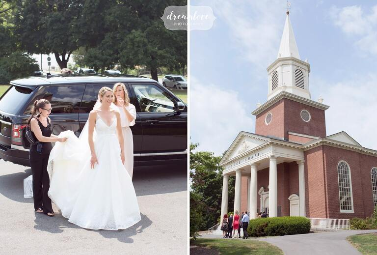The bride arrives at the Rooke Chapel on Bucknell campus.