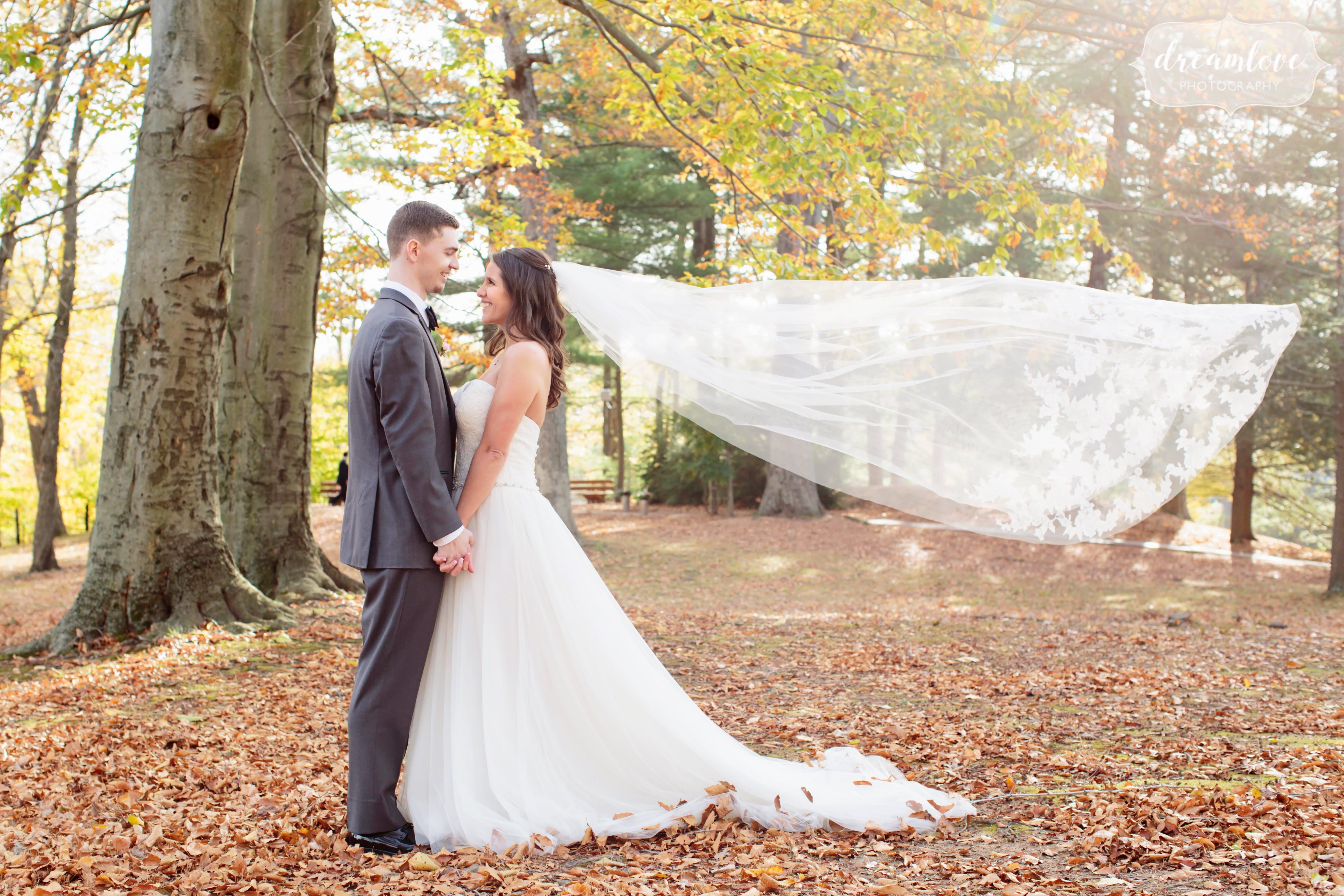 The bride's veil went flying in the wind during this November outdoor wedding in CT.