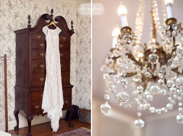 Modern BHLDN Ludlow wedding gown hanging at Lyman Estate venue.
