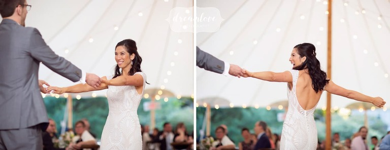 Joyful wedding photography of bride first dance at Lyman Estate.