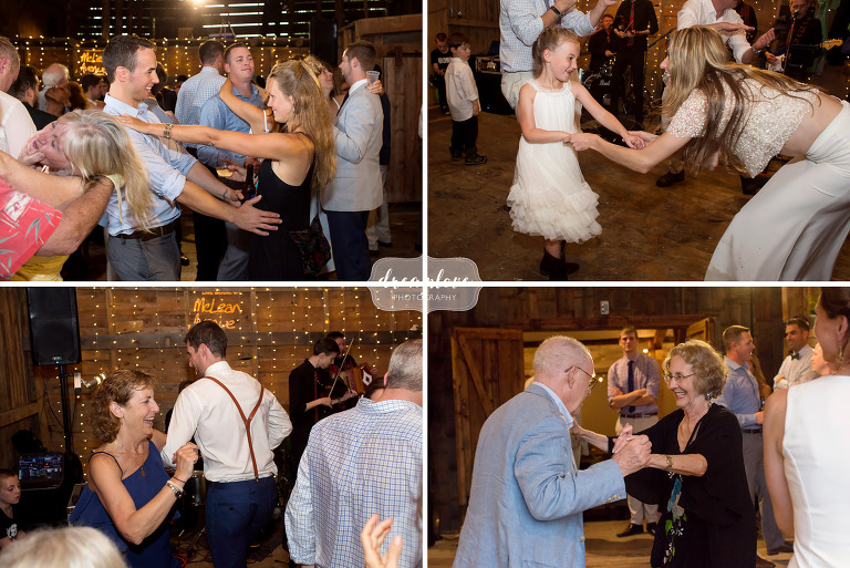 Guests dance at this barn wedding in Stowe VT.