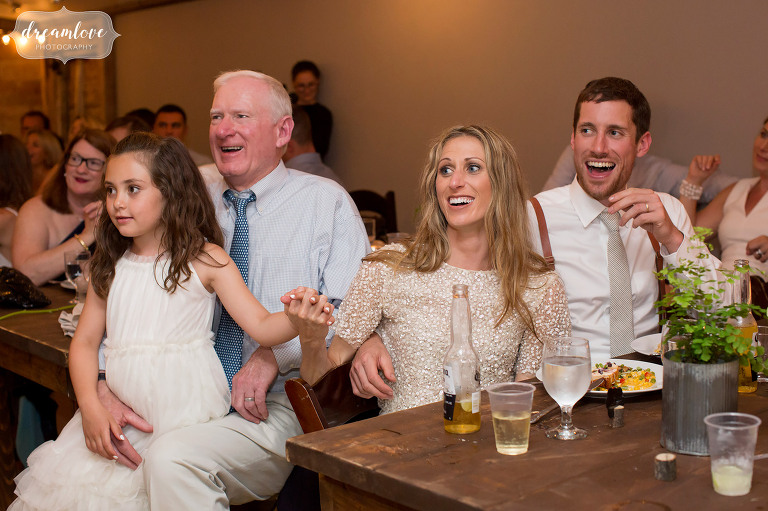 Funny reactions to the bridesmaids toast at this Stowe barn wedding reception.