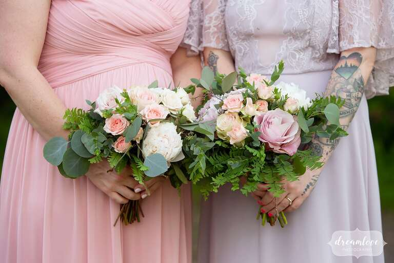 Artistic wedding photography of pastel bridesmaids in western Mass flowers.