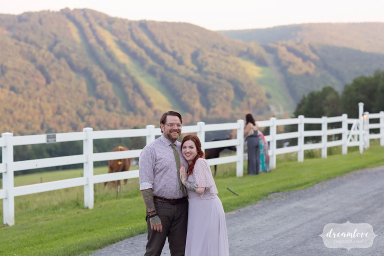 Candid guest photo in front of Berkshire East ski resort wedding.