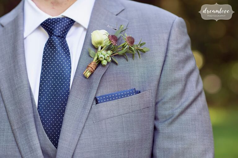 Orly Khon Floral boutonniere at Lyman Estate.