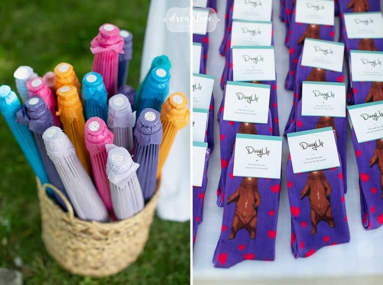 Colorful sun umbrella parasols and sock guest favors.