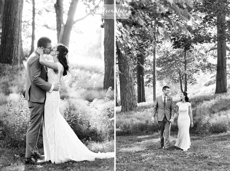 Classic wedding photography of bride and groom in woods at Lyman Estate.
