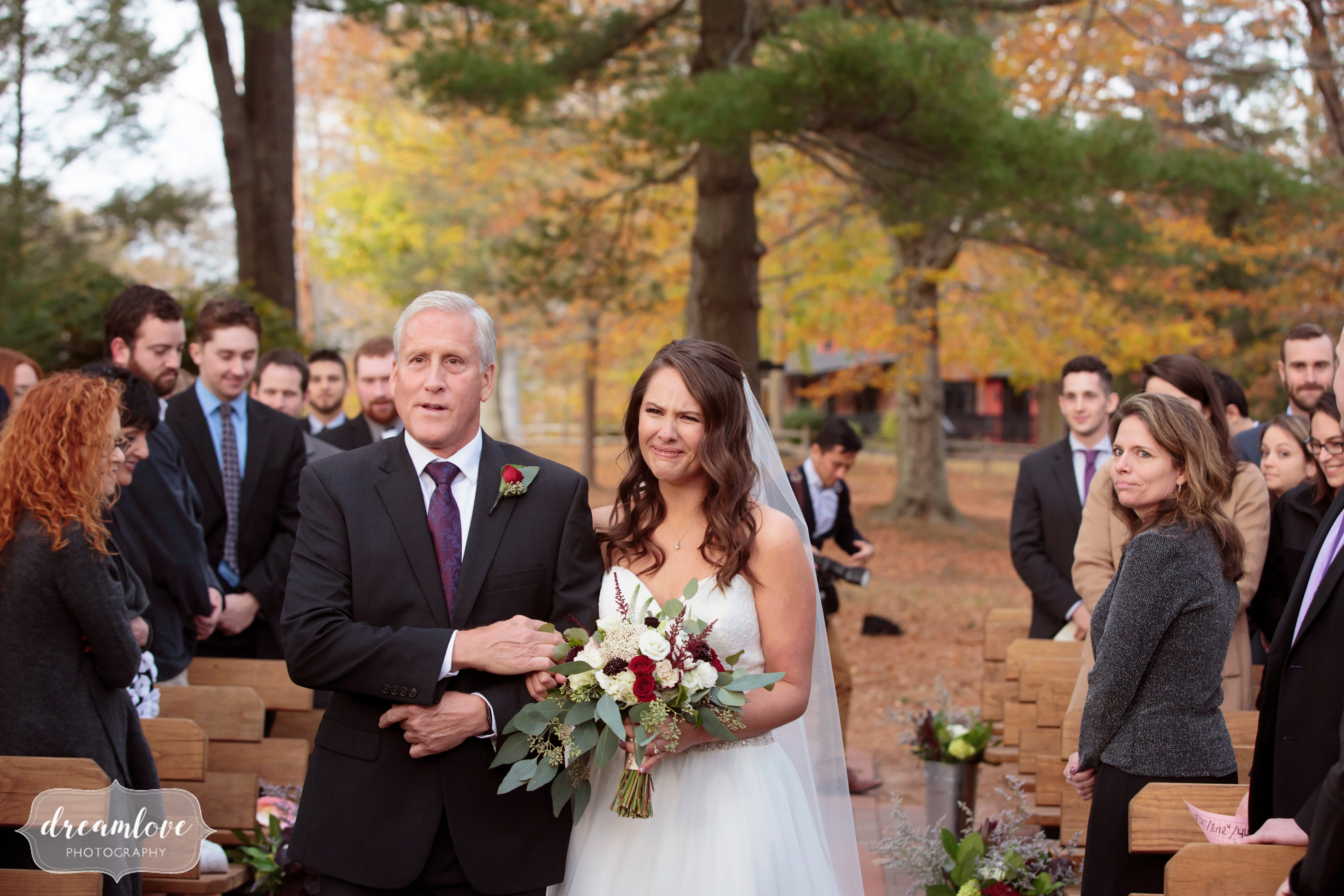 Bride and her father walk down the aisle at gazebo ceremony in CT.