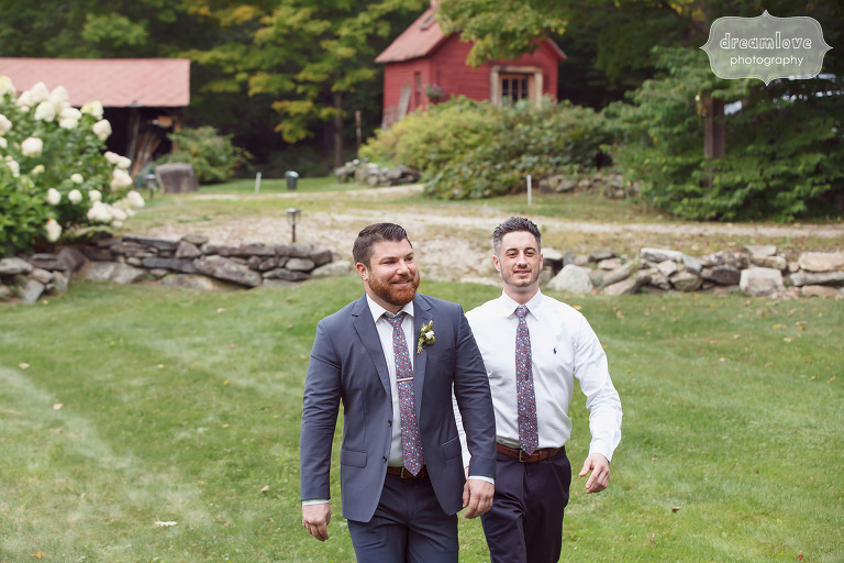 Dapper groom and groomsmen walk to the ceremony for Southern VT wedding.
