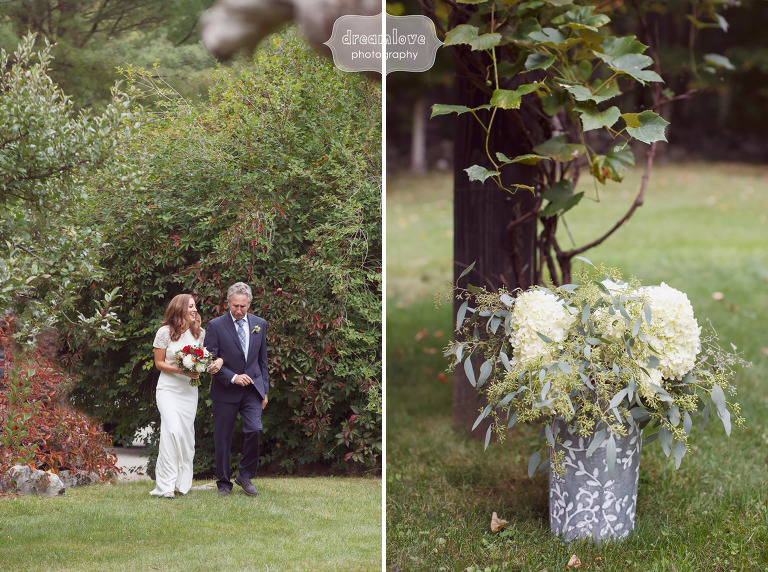 Bride and her father walk down the aisle at Curtis Hollow Farm in VT.