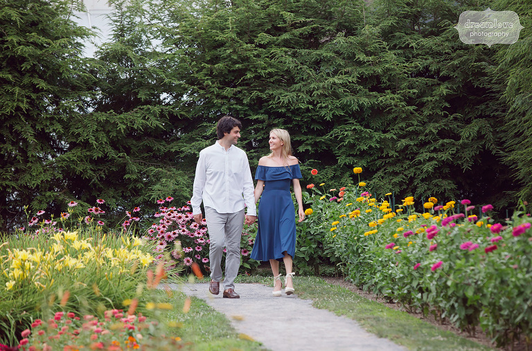 Hudson Valley Engagement Photos at FDR Park gardens in NY.