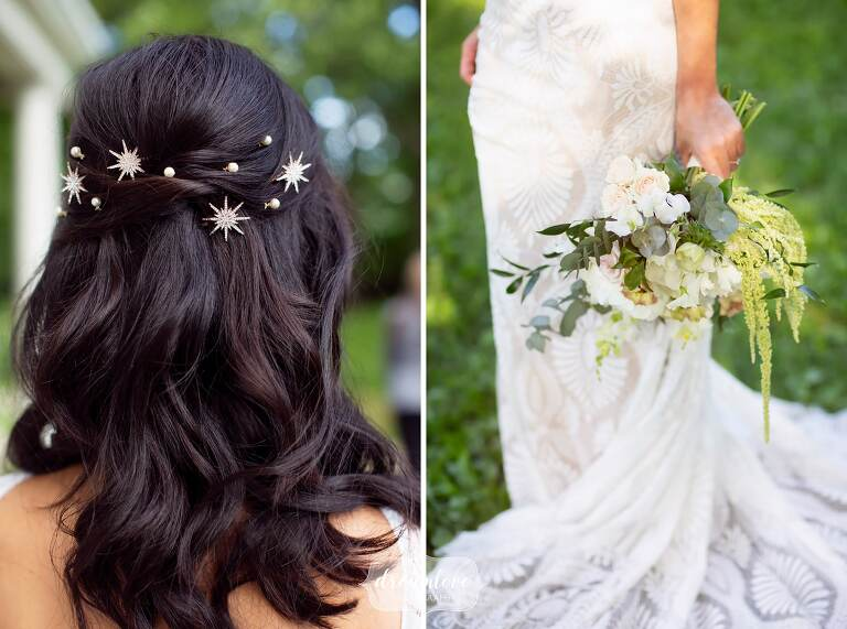 Bride wears star starburst hair pins for this Boston celestial wedding at Lyman.