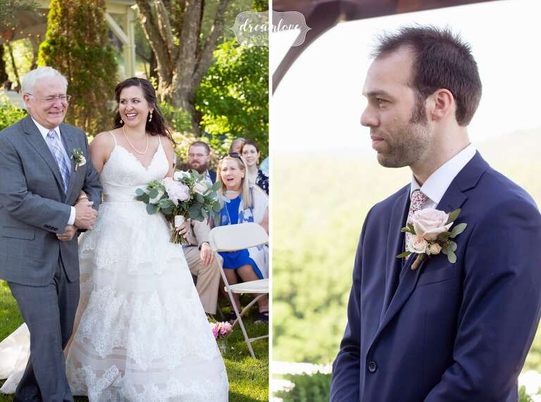 Bride enters outdoor ceremony in western Mass.