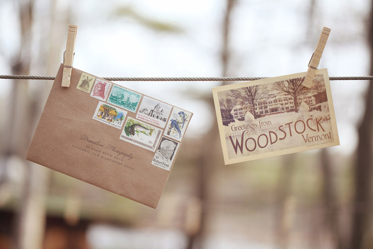 A vintage themed wedding invitation that used an array of vintage stamps for a Woodstock VT wedding.