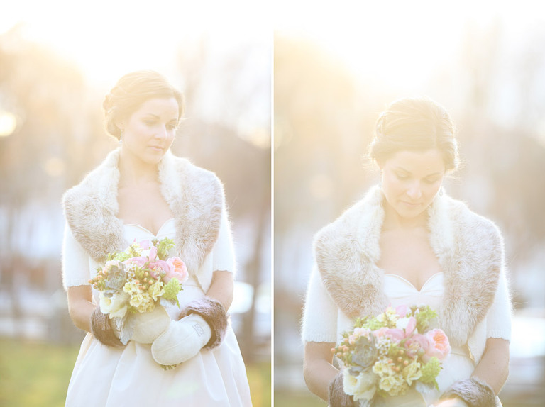 Sun filled portraits of a bride before her Woodstock Inn Winter Wedding in Vermont.