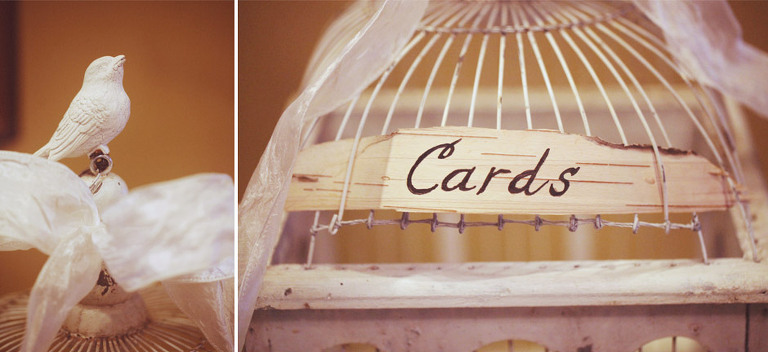 A vintage birdcage was used for wedding cards and gifts - DIY wedding ideas.