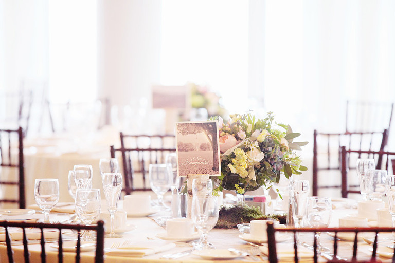 Woodstock Inn wedding reception decor included tables named for places the couple has visited.