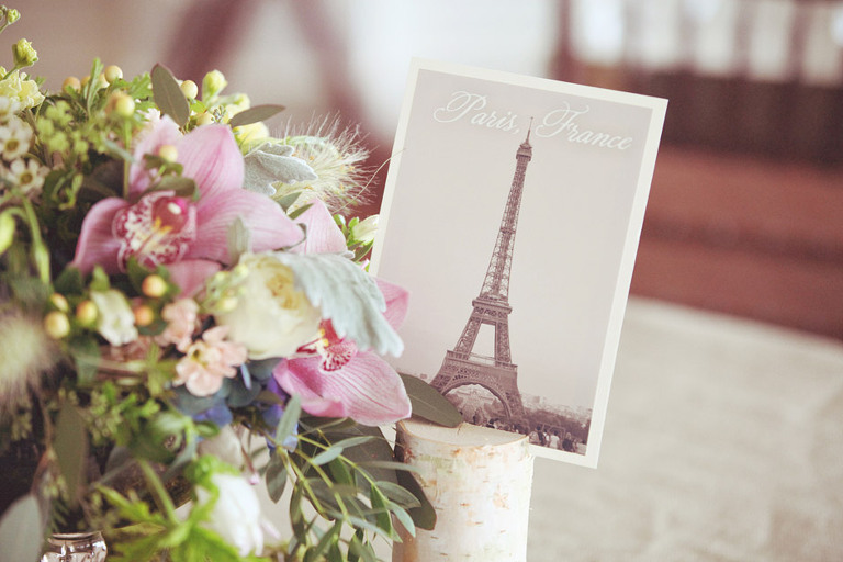 A DIY postcard from Paris was used as a table centerpiece for this wedding reception.