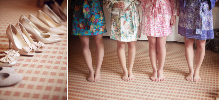 Detail photo of bridesmaids shoes and bright wedding day robes.