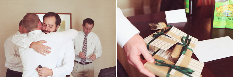 Groom hands out gifts to his groomsmen as an appreciation for them being in his wedding.
