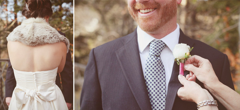 Details of the back of a wedding dress and a groom getting his boutonniere pinned on.