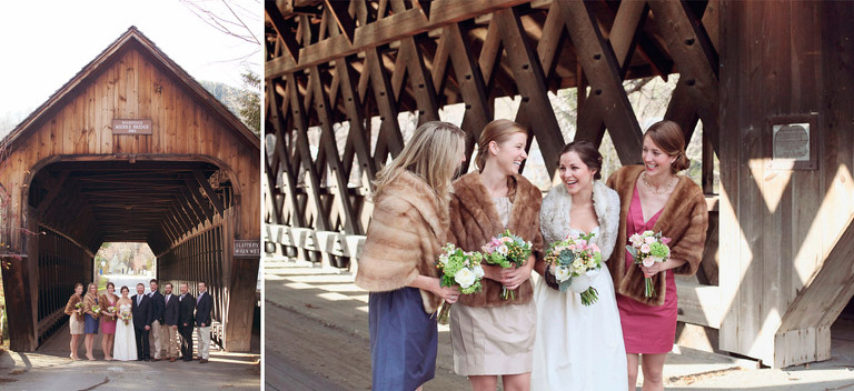 A wedding party laughs and poses in front of a beautiful covered bridge in Woodstock, VT.